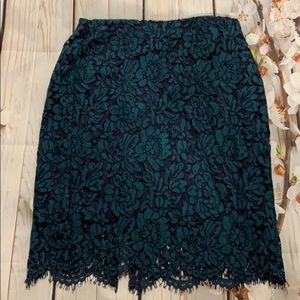 Banana republic teal lace pencil skirt
